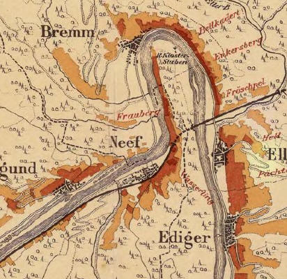 Lagenkarte der besten Mosellagen aus dem 18. Jhd., der Frauenberg ist genua in der Mitte: Die roten Lagen sind die 1a-Cru-lagen, in den helleren Gebieten wurd heute praktisch kein Weinbau mehr betrieben...