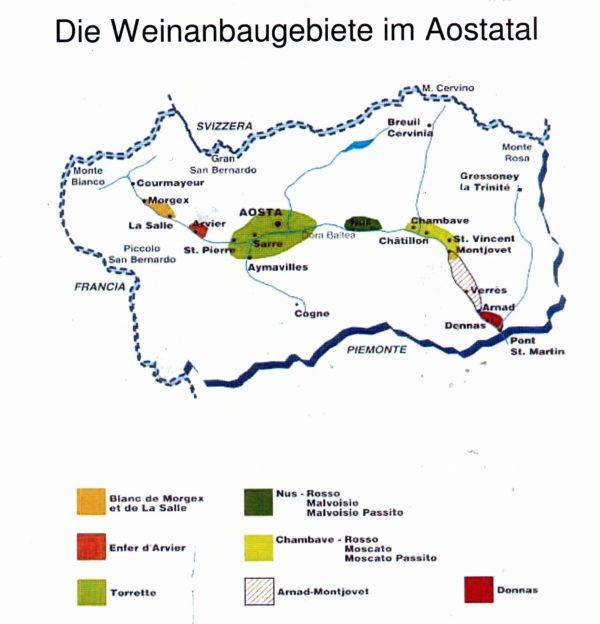 Weinabaugebiete im Aostatal: Donnas ganz rechts in Rot