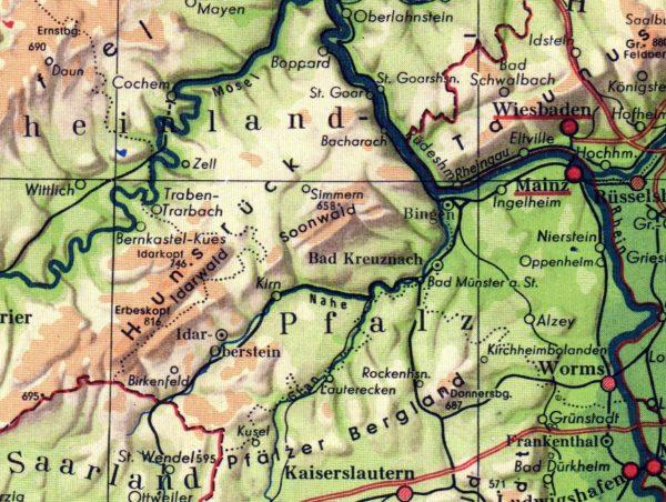 Die Nahe geographisch :: von Süden links der Glan, rechts die Alsenz